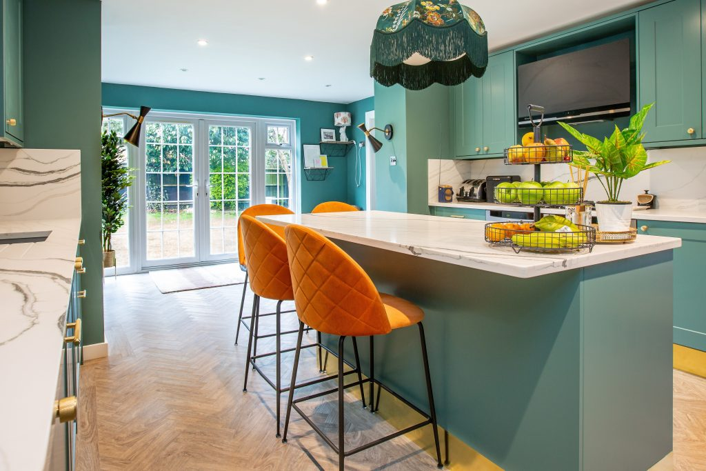 stunning green kitchen